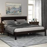 Queen Bed Frame with Headboard, Wood Queen Platform Bed Frame, Queen Bed for Kids, Teens and Adults, No Box Spring Required, Brown