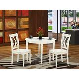 East West Furniture Round Dinette Set 3 Piece - Wooden Modern Dining Chairs Seat - Linen White Finish Small Round Table and Body