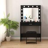 Vanity Set Makeup Dressing Table with Mirror, Vanity Desk with Padded Stool and Drawers Storage Shelf, Small Bedroom Vanity Table for Women Girls Bathroom Bedroom Makeup【US Fast Shipment】 (Black)