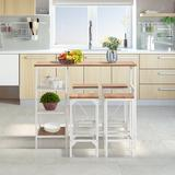 17 Stories 5 Piece Counter Height Dining Table Set, Industrial Style Bar Pub Table w/ 4 Backless Bar Stools For Home in White | Wayfair