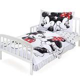 3-Piece 100% Cotton Disney White Minnie Kisses Mickey Toddler Bedding Set