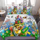 "SfeatrutMAT Duvet Cover Set Queen XL Size 90""x90"",Mario Bros Video Games Princess Peach Toad,Luxury Bedding Set Comforter Cover Set, 1 Duvet Cover and 2 Pillowcases"