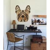 Trinx Boho French Bulldog Decal, Boho French Bulldog Sticker, Boho French Bulldog Wall Decor in Black/Brown, Size 22.0 H x 22.0 W in | Wayfair