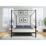 Latitude Run® Elegant Queen Canopy Bed Frame w/ Headboard, Canopy Frame For Queen Bed w/ Sturdy Metal Slat, BrassMetal in Black | Wayfair