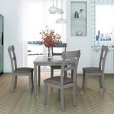 August Grove® 5 Piece Dining Table Set Industrial Wooden Kitchen Table & 4 Chairs For Dining Room in Gray, Size 30.12 H x 35.0 W x 35.0 D in Wayfair