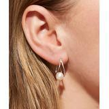 Barzel Women's Earrings - Cultured Freshwater Pearl & Sterling Silver Huggie Earrings