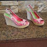 Lilly Pulitzer Shoes | Lilly Pulitzer Sling Backs Wedge Sandals Size 8 | Color: Green/Pink | Size: 8
