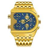 YXBQUEEN Watch for Men Luxury Men's Wrist Watch Blue Dial Chronograph Quartz Analog Watch