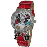 Disney Mickey Mouse and Minnie Mouse Women's I Love You Red Watch