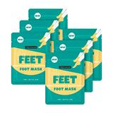 Freeman Beauty Flirty Feet Moisturizing + Soothing Foot Sheet Masks, Foot Care for Dry Feet, 6pk sachets
