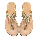 Monrovia Women's Rhinestone Jeweled Flat Beach Wedding Summer Sandals Gold Rhinestone Jeweled Sandals for Women Bling Jelly Flat Sparkly Sandals Dress Dressy Flip Flops Size 7