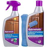 Rejuvenate Cabinet & Furniture Cleaner pH Neutral Streak & Residue Free Cleans Restores Protects with Rejuvenate Cabinet & Furniture Restorer Fills in Scratches Seals and Protects Furniture, and Wood
