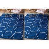 Unique Loom Trellis Frieze Collection Navy Blue Area Rug (8' 0 x 10' 0) & Loom Trellis Frieze Collection Lattice Moroccan Geometric Modern Navy Blue Area Rug (5' 0 x 8' 0)
