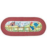 Oval Farm Rooster Braided Runner Accent Rug
