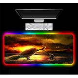 Pokemon RGB Mouse Pad Gaming Luminous LED Computer Keyboard Pad Gaming Accessories Desk Mat PC Notebook XXL,C 800x300x4 mm