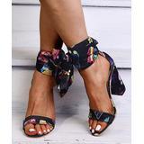 PAOTMBU Women's Sandals black - Black Cosmetics Side-Tie Pump - Women