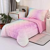 Wowelife Pink Toddler Bedding Set Star 4 Piece Princess Toddler Bed Sets for Girls(Stars)