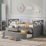 Merax Multi-Functional Daybed with Trundle and Drawers, Captain's Platform Storage Bed with Trundle Bed and 2 Storage Drawers (Grey)