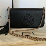 Gucci Bags | New Gucci 536224 Soho Leather Crossbody Bag, Black | Color: Black/Gold | Size: Os