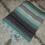 Urban Outfitters Bedding   Drug Rug Striped Aztec Blanket Throw *As Is*   Color: Black/Green   Size: 68 X 44