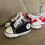 Converse Shoes   Baby Converse- Crib Shoes   Color: Black/Red   Size: 1bb