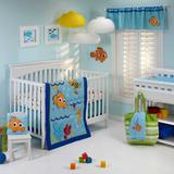 Disney Bedding | Finding Nemo Wavy Days 5pc. Crib Bedding Set | Color: Blue/Orange | Size: Stanndard Crib
