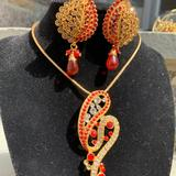 Zara Jewelry | Indian Style Fashion Necklace And Earring Set | Color: Gold/Red | Size: Os