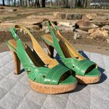 Nine West Shoes | Nine West Slingback Platform Sandal | Color: Green | Size: 9.5
