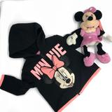 Disney Matching Sets   Disney   Minnie Mouse Zip Up Hoodie Plush Toy 3-6m   Color: Black/Pink   Size: 3-6mb