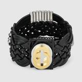 Gucci Jewelry   Gucci Gg Marina Braided Leather Bracelet In Black   Color: Black/Gold   Size: Size S: 8 Size L: 8.75