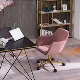 Everly Quinn Modern Velvet Pink Material Adjustable Height 360 Revolving Home Office Chair, Pink Upholstered in Yellow | Wayfair