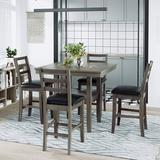 Winston Porter 5-Piece Wooden Counter Height Dining Set w/ Padded Chairs & Storage Shelving, Walnut Wood/Upholstered Chairs in Brown | Wayfair