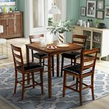 Winston Porter Square Counter Height Wooden Kitchen Dining Set, Dining Room Set w/ Table & 4 Chairs () Wood/Upholstered Chairs in Brown | Wayfair