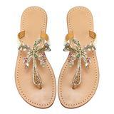 Monrovia Women's Rhinestone Jeweled Flat Beach Wedding Summer Sandals Gold Rhinestone Jeweled Sandals for Women Bling Jelly Flat Sparkly Sandals Dress Dressy Flip Flops Size 9.5