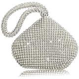 Women's Evening Bag Sparkly Rhinestone Purse Triangle Designer Chain Clutch Purse Bag Party Prom Wedding Purse (Silver)