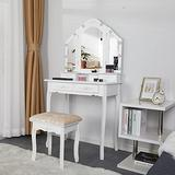 Maupvit Lighted Vanity Set-Makeup Vanity Table with Tri-Folding Lighted Mirror and 10 LED Bulbs, White Vanity Desk Makeup Dressing Table with 4 Drawers and Cushioned Stool for Women and Girls -White