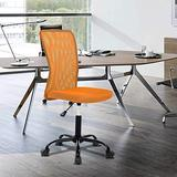 Home Office Chair Computer Chair Mid Back Mesh Chair, Desk Chair Height Adjustable Small Office Chair Modern Task Chair No Armrest Cheap Rolling Swivel Chair Student Office Chair with Wheels,Orange