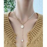 Street Region Women's Necklaces Gold - Imitation Pearl & 18k Gold-Plated Coin Lariat Necklace