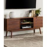 Walker Edison Media Stands Walnut - Walnut Adair Two-Door Solid Wood TV Console