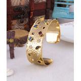 Handmade Art Women's Bracelets Mix - Blue Zircon & 14k Gold-Plated Cuff