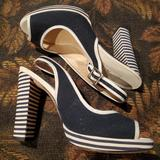 Michael Kors Shoes | Navy & White Striped Heel Peep Toe Slingback Heels | Color: Blue/White | Size: 7
