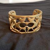 Coach Jewelry | Euc Coach Cuff Bracelet In Gold Colored-Authentic | Color: Gold | Size: Cuff-Pics Have Measurements