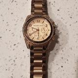 Michael Kors Accessories | Michael Kors Ladies Watch Rose Gold Plated Watch | Color: Gold/Tan | Size: Os