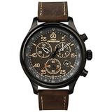 Timex Men's Expedition Field Chrono 43mm Watch with Timex Pay – Black Dial & Case Brown Leather Strap