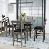 Red Barrel Studio® 5-Piece Wooden Counter Height Dining Set w/ Padded Chairs & Storage Shelving Wood/Upholstered Chairs in Gray, Size 36.0 H in