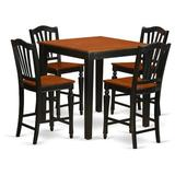 Rosalind Wheeler Beacon 5 - Piece Counter Height Rubberwood Solid Wood Dining SetWood in Black/Brown, Size 36.0 H x 36.0 W x 36.0 D in   Wayfair