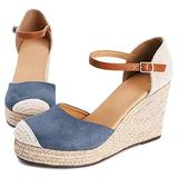 Womens Closed Toe Espadrilles Wedges Shoes Platform Heel Ankle Strap Sandals Pump