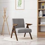 HUIMO Accent Chair & Armchair, Wooden Mid-Century Modern Lounge Chair, Fabric Accent Chairs for Living Room, Elegant Upholstered Reading Chair,Bedroom,Side Chair (Light Grey)
