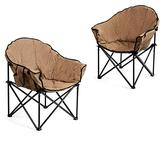Giantex Set of 2 Portable Camping Chair, Moon Saucer Chair, Outdoor Folding Chair with Soft Padded Seat, Lawn Chair with Cup Holder and Carry Bag (Brown)