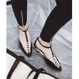 BUTITI Women's Sandals black - Black & White Imitation Pearl-Accent Pointed-Toe Sandal - Women